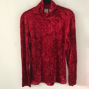Gap Crushed Velvet Top Red Medium Turtleneck